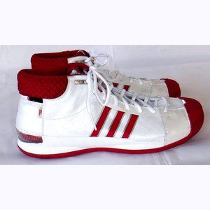 Clean Adidas white/red high tops